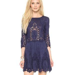 Dolce Vita Blue Silk/Lace Dress